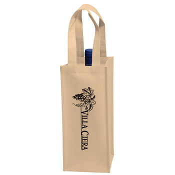 "Wine Tote Bag - 1 Bottle Non-Woven Tote (5""x5""x12"") - Screen Print"