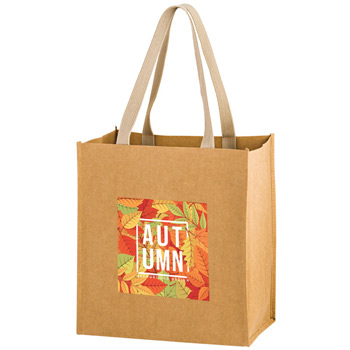 "Washable Kraft Paper Fabric Grocery Tote Bag w/Web Handle (12""x8""x13"") - Color Evolution"