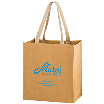 "Washable Kraft Paper Fabric Grocery Tote Bag w/Web Handle (12""x8""x13"") - Screen Print"