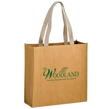 "Washable Kraft Paper Fabric Tote Bag w/Web Handle (13""x5""x13"") - Screen Print"