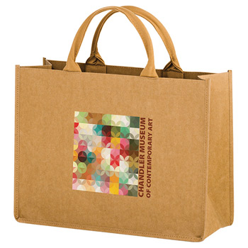 "Washable Kraft Paper Fabric Tote Bag w/Contoured Handles (16""x6""x12"") - Color Evolution"
