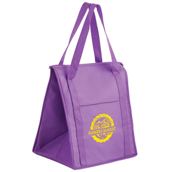 "Insulated Non-Woven Grocery Tote Bag w/Insert (13""x10""x15"") - Screen Print"