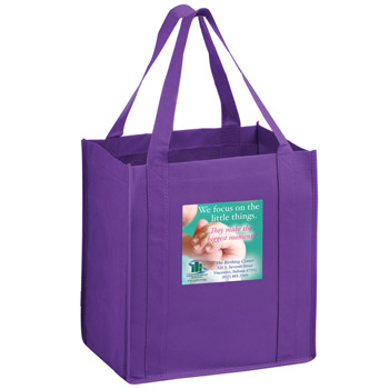 "Heavy Duty Non-Woven Grocery Tote Bag w/Insert and Full Color (12""x8""x13"") - Color Evolution"