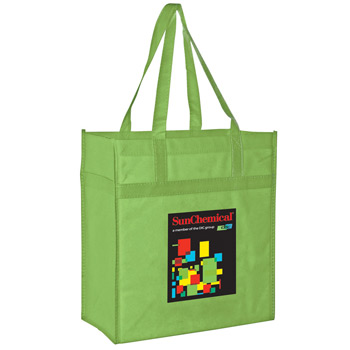 "Heavy Duty Non-Woven Grocery Tote Bag w/Insert and Full Color (13""x7""x14"") - Color Evolution"