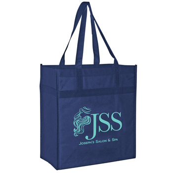 "Heavy Duty Non-Woven Grocery Tote Bag w/Insert (13""x7""x14"") - Screen Print"