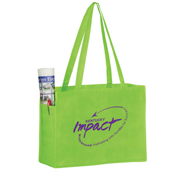 "Side Pocket Non-Woven Tote Bag (16""x6""x12"") - Screen Print"